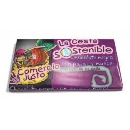 Chocolate Negro con Pasas y Nueces Cesta Sostenible 100 g (Caja 20 tabletas)
